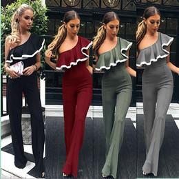 Working Women Jumpsuit Australia - 2018 Women Jumpsuit Sexy One Shoulder Ruffles Long Playsuit Office Lady Work Wear Elegant