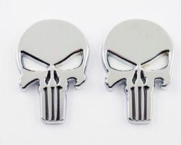 $enCountryForm.capitalKeyWord Australia - 3D Chrome Skull Punisher Oil Fuel Tank Badge Fairing Decal Sticker Emblem Metal