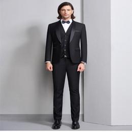 $enCountryForm.capitalKeyWord Australia - Black men's West decoration body groom wedding suit men's fashion shawl collar formal business suit suit.