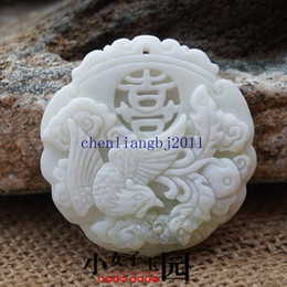Carved Jade Red Pendants Australia - Collect Chinese natural old whitem Jade Carved Amulet Pendant Phoenix