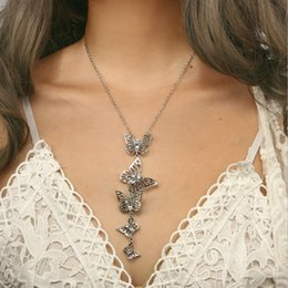 Butterfly Chains Australia - Wedding Jewelry Graceful Lovely Silver Gold Hollow 5 Butterfly Pendant Bib Statement Long Pendant Necklace