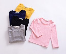 Cheap branded kids Clothes online shopping - Cheap Girls Solid Color Long Sleeves Tops Fall Kids Boutique Clothing T Little Girls Cotton Plain Bottom T Shirts All Match