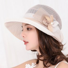 pearl silk cream NZ - 2019 Women Summer Silk Sun Hat Wide Brim Floral Hats Pearl Flowers Floppy Visors Female Elegant Sea Beach Caps Sun Protective Hat