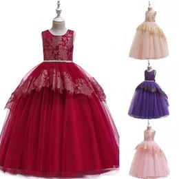 $enCountryForm.capitalKeyWord Australia - Long Lace Flower Girl Dress Teens Formal Birthday Bridesmaid Party Tutu Gown Chidlren Kids Clothes