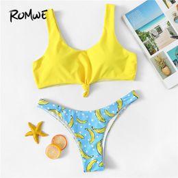 $enCountryForm.capitalKeyWord Australia - Romwe Sport Cute Colorblock Bikini Set Wire Free Bikinis With Banana Print Bottoms Women Summer Scoop Neck Beach