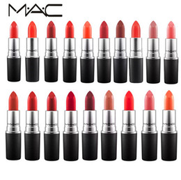 Lipstick 3g Dhl Australia - MC m Makeup Luster Lipstick Frost Lipstick Matte Lipstick 3g RUBY WOO CHILI VELVET TEDDY RUSSIAN RED KINDA Macs DHL Free