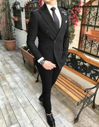 Double breasteD peak lapel tuxeDo online shopping - Popular Double Breasted Black Groom Tuxedos Peak Lapel Men Suits pieces Wedding Prom Dinner Blazer Jacket Pants Tie W1051