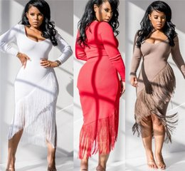 Tassel sleeve whiTe dress online shopping - evening dress women designer dresses sexy tassel skinny dress clubwear dress fashion autumn womens clothing klw2448