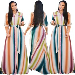 413d4c07335 Rainbow Vertical Striped Long Maxi Dress Women Turn Down Collar Three  Quarter Sleeve Boho Dress Summer Button Sashes Beach Dress
