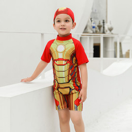 champagne swim wear NZ - Two Piece Swimwear Short Sleeves Cartoon Print Swimsuit Children Swimming Wear Boys Plus Size Bathing Suits Beach Wear xxl Swim