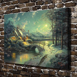 $enCountryForm.capitalKeyWord Australia - Christmas Moonlight Scenery,Home Decor HD Printed Modern Art Painting on Canvas (Unframed Framed)