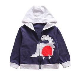 $enCountryForm.capitalKeyWord Australia - Kids boys sweatshirts Toddler Kids Baby Boy Dinosaur Embroidery Long Sleeve Hooded Coat Jacket Outwear
