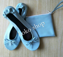 grey ballerina shoes NZ - New Fashion ! Wholesale official lady soft comfortable flat fold up ballerina shoes with matching small bag