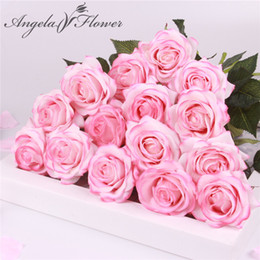 Artificial Red White Roses Australia - 15 Pcs lot Silk Real Touch Rose Artificial Gorgeous Flower Wedding Fake Flowers For Home Party Decor Valentine's Gift Y19061103