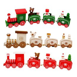 Cartoon Carriage online shopping - 10PCS Wooden Christmas Train Carriage Wood Ornament Xmas Home Decoration Kids Room Decor Children Gift Toy X5cm