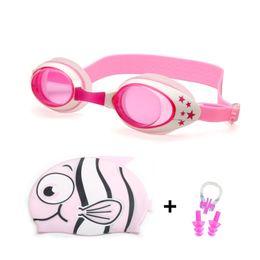 $enCountryForm.capitalKeyWord Australia - Swimming Caps Anti Fog Goggles Ear Plug Nose Clip Set Boy Girl Professional Silicone Shark Pool Swim Eyewear Swimming Glasses