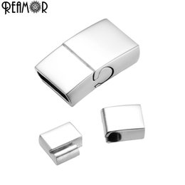 $enCountryForm.capitalKeyWord Australia - REAMOR 316L Stainless Steel 10*3mm Magnetic Clasps For Jewelry Making Flat Leather Cord Bracelet Metal Connectors DIY Findings