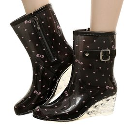 Discount zipper buckle boots - Perimedes Polka Dot Women's Boots Zipper Buckle Shoes Pointed Toe Mid-Calf Women Boots Waterproof Non-Slip Shoes bo
