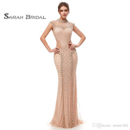 sexy cocktail dresses images Australia - Luxury Crystal Mermaid Blush Tulle Prom Party Dresses 2019 Sexy Champagne Backless Vestidos De Festa Evening Occasion Gown 5401