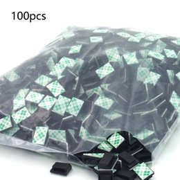 Discount wall clips - 100pcs lot Management Desk Wall Cord Clamps Adhesive Car Cable Clips Flat Cable Winder Drop Wire Tie Fixer Holder