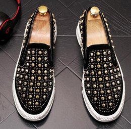 trendsetters shoes Australia - Luxury designer Men's Trendsetter Gold Silver rivet punk Rock Trendy Casual Shoes loafers Male walking Dress moccasins zapatos hombre J