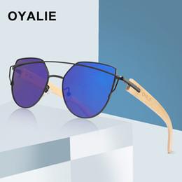 22e613ef38cb3 OYALIE Wooden Bamboo Cat Eye Sunglasses Polarized Metal Frame Wood Ladies  Sun Glasses for women Luxury Fashion Sun Shades