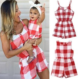 864ec1b091db89 Mother Daughter Family Matching Outfits Clothes Plaid Parent-child Dress  Baby Girls Mom Romper Fashion Summer Women Kids Costume