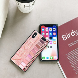 $enCountryForm.capitalKeyWord NZ - Makeup Eyeshadow Palette Phone Case Square 9H Tempered Glass Phone Case Glossy Vogue Retro Love Heart Pattern Luxury New Cases For iphone Xs