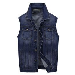 $enCountryForm.capitalKeyWord Australia - Mens Sleeveless Jacket Waistcoat Denim Vest Men Brand Motorcycle Style Men's Jean Coat Ripped Slim Fit Male Cowboy Vest M-3XL