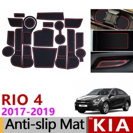 $enCountryForm.capitalKeyWord Australia - Anti-Slip Gate Slot Mat Cup Rubber Pads Rug for Kia Rio 4 X-Line RIO 2017 2018 2019 18pcs RIO4 Accessories Stickers Car Styling