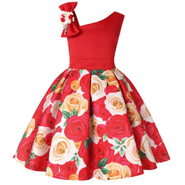 Children Straight Gown Styles UK - new style flower rose printing dress kids frock dress baby girl birthday easter party dress child skirt clothes