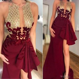 HigH neck sleeveless evening dresses online shopping - Popular Burgundy With Gold Prom Dresses A Line Ruffles See Through Plunging Neck High Low Cocktail Evening Gowns