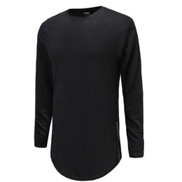 long zip tee Australia - New Trends Men T shirts Super Longline Long Sleeve T-Shirt Hip Hop Arc hem With Curve Hem Side Zip Tops tee