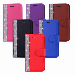 Diamond Id Wallet Australia - Bling Diamond Leather Wallet Case For Iphone XS MAX XR X 8 7 6 SE Touch 6 5 Galaxy S10 S10e ID Card Slot Leechee Flip Cover Luxury Strap