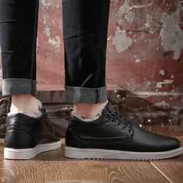 warm casual boots Australia - Winter Men Boots Low-cut Plush Fashion Sneakers Casual Oxfords Derby Shoes Lace-up Warm Non-slip Booties Classics Flat Footwear