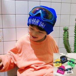 Großhandel Jungen Pilotenhut mit Brille cool Design Frühjahr 2019 neue Wolle Hut Mode Kinder Buchstaben Mütze INS lässig Stil kindlich übergroßen Sonnenbrillen