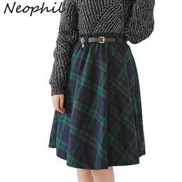 94dcadffc5 Neophil Winter High Waist Wool Plaid School Pleated Midi Skirts Womens  England Style Skater Woolen Tartan Tutu Saias S1736 Q190508