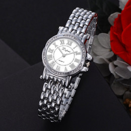Discount luxury watch slim - Business Simple Women Quartz Watches Rainstone Slim Chain Small Round Bracelet Watches Ladies Casual Dress Wristwatch Lu