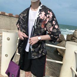 $enCountryForm.capitalKeyWord NZ - Man Loose Kimono CardiganBreathable Retro Sleeve Chinese style Dragon Jackets Short Sleeve Sunscreen Coat Robe