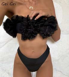 Wholesale brazil bikinis for sale – plus size 2020 sexy wrapped chest black bikini swimsuit women gathered bra mesh Brazil beach biquini suit piece beach sports swimwear