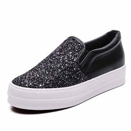 $enCountryForm.capitalKeyWord NZ - Bling Platform Loafers Women Sneakers PU Leather Ladies Flat Shoes 2019 Spring Girls Sequins Thick Bottom Comfortable Walking Shoes
