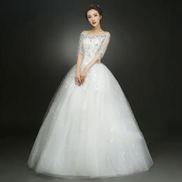 Korean Plus Sized Dresses NZ - Off Shoulder Wedding dress New Korean style wedding dress Plus Size Red wedding dress