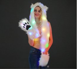 Faux Fur Scarf Hood Australia - Comfortable Women LED Light Up Faux Fur Animal Ears Rave Hood Hat with Scarf