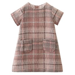 new baby girls designs dress Canada - New design baby girls autumn fall skirts grid lattice children outwear dress kids blouse shirt boutiques clothes