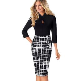 $enCountryForm.capitalKeyWord NZ - Vfemage Vintage Contrast Color Patchwork Bag To Work Keyhole Knots Vestido Bodycon Office Business Coat Women's Dress 037 Y19071001