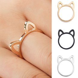 indian ear rings Australia - Womens 925 Silver Rings Simple Cute Cat Ear Design Finger Ring Black Gold Plated Cat Jewelry