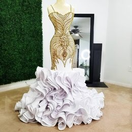 rhinestone collar evening dresses UK - 2020 Luxury White Mermaid Prom Dresses Spaghetti Straps Gold Beading Evening Gowns Rhinestones Plus Size Sweep Train Ruffled Formal Dress