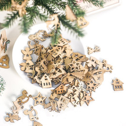 Discount wooden tree shapes - 100PCS DIY Natural Wooden Chip Christmas Tree Hanging Ornaments Pendant Kids Gifts Snowman Tree Shape Xmas Ornaments Dec
