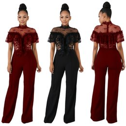 $enCountryForm.capitalKeyWord NZ - A3086 high-end fashion European and American women's hot sale explosions lace stand collar ruffled short-sleeved jumpsuit