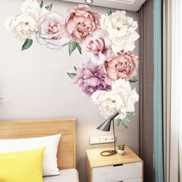 kids decor wall art Australia - 60x60cm Peony Rose Flowers Wall Sticker Art Nursery Decals Kids Room Home Decor Gift High Quality Wall Sticker
